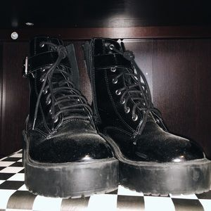 H&M LATEX COMBAT BOOTS